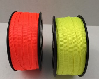 "10 Yards 1/4"" grosgrain Ribbon  Neon Yellow or Orange"