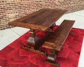 AVAILABLE NOW! Reclaimed Wood Pedestal Farmhouse Dining Table and Bench