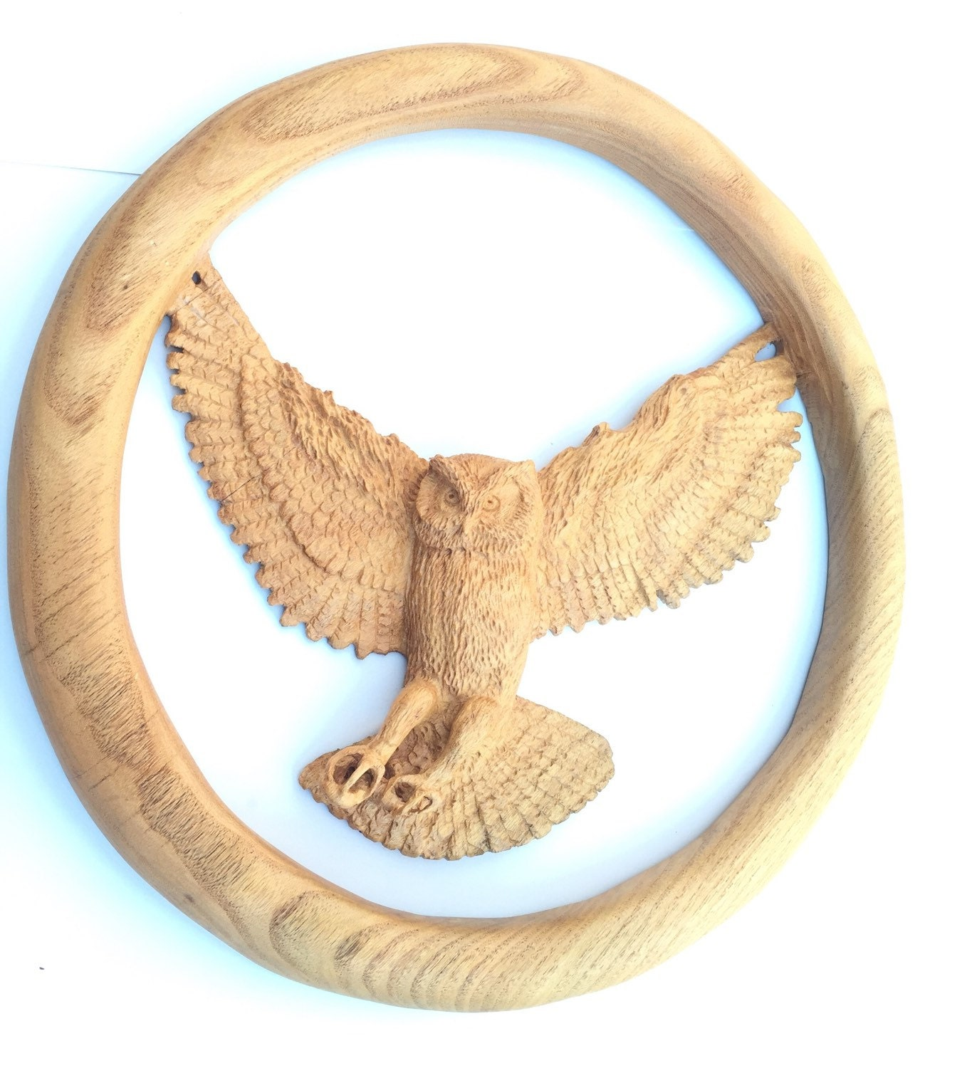 Owl wood sculpture hand carved carving by
