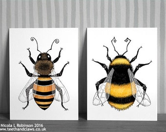 Bee Art Prints, Honey Bee And Bumble Bee, Pair Of Bee Prints, British Summer Prints, Insect Illustrations, Nature Art, Bee Decor, Bugs,
