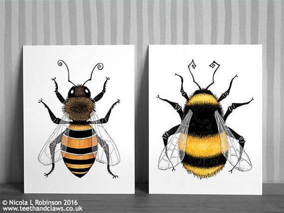 Bee Art Prints Honey Bee And Bumble Bee Pair Of Bee Prints