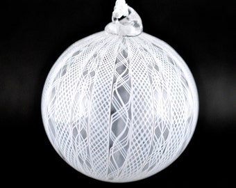 White Filigree Glass Ball