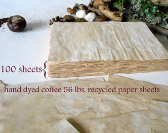 100 Coffee dyed paper sheets- blank coffee sheets colored with home made coffee- set of old looking paper- 100% recycled- 56 lbs.- 6'' x 8''