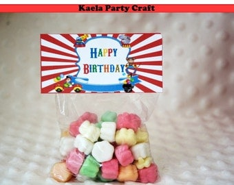Circus goodie bag labels. Circus themed party. Circus party. Circus birthday. Circus baby shower. Carnival birthday. Carnival theme party