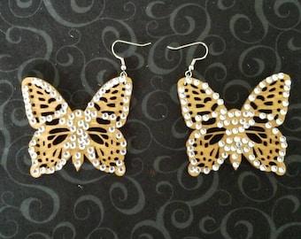 Wooden Stained Butterfly Earrings