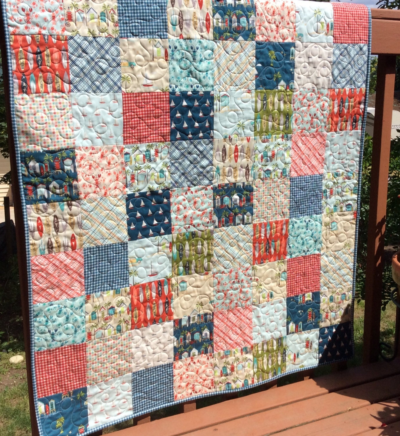 Quilting Patterns Beach Theme : Baby quilt girl quilt boy quilt beach theme by raincityquilts