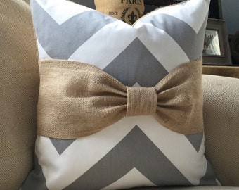 Grey & white chevron burlap bow pillow cover 18x18