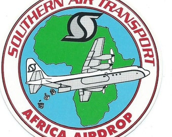 Southern Air Transport SAT sticker Africa Airdrop 3-1/8 in dia Miami FL CIA operated airline