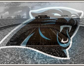 Carolina Panthers 11x16 Collage Print Blue Black White Stadium Sports Athletic Wall Art Man Cave Decor