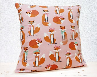"Handmade 16""x16"" Cotton Cushion Pillow Cover in Pink/Orange/White Cute Comical Foxes with Spectacles & Scarves Design Print"
