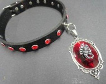 Choker Collar Black Leather Choker Red Gem Silver Filigree Red Gem Silver Scorpion