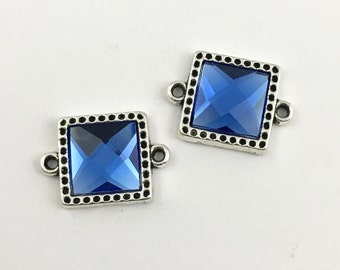 2 square connector silver tone and glass cabochon 20mm x 27mm #CON 353