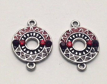 2 connectors  antique silver and enamel,24mm #CON022