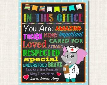 CUSTOM School Nurse Decor, Pediatric Nurse Decor, Nursing Sign INSTANT DOWNLOAD, Nurse Wall Art, Doctor Office Decor, In this Office Poster