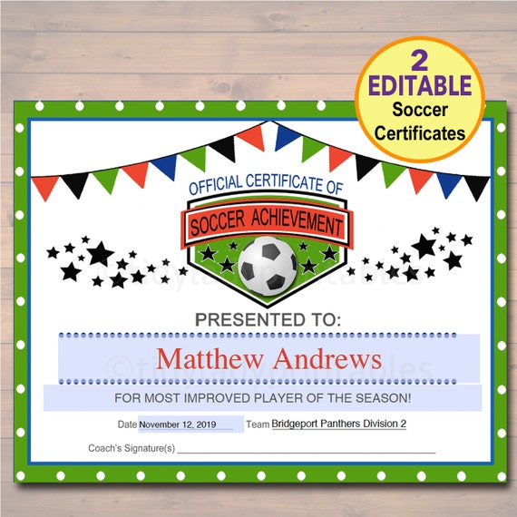 Editable soccer award certificates instant download team editable soccer award certificates instant download team soccer awards soccer party printable sportsmanship awards sports certificates yelopaper Image collections