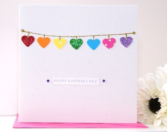 Mother's Day card, handmade Mothers day card, personalised Mother's Day card - rainbow heart card - flowers card Mothers day