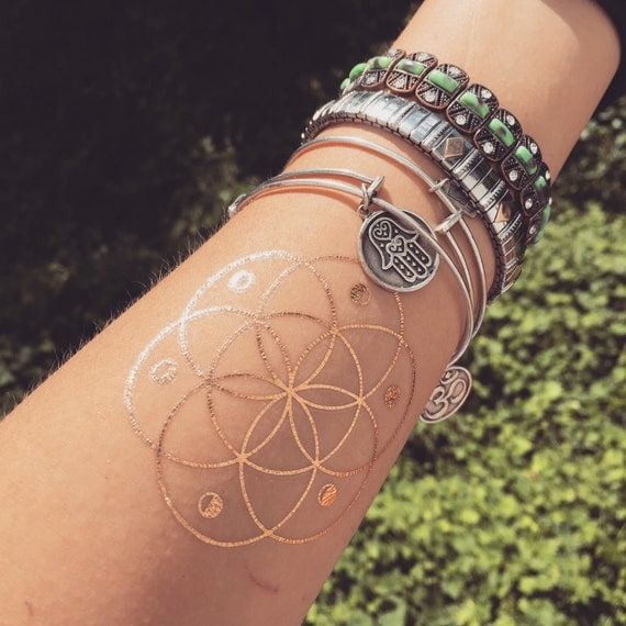 sacred geometry flash gold foil moon phase