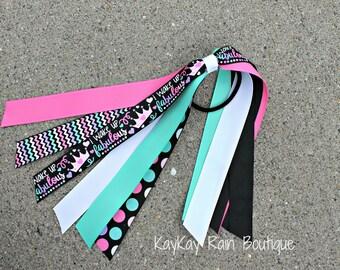 I Wake Up Fabulous Ponytail Streamer - Ponytail Ribbons - Ponytail Holder Ribbons - Ponytail Streamer Ribbons - Cheer Ribbons - Fabulous