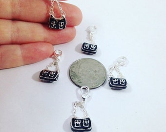 Summer Clearance Trendy Black and Silver Purse Charms
