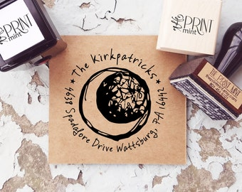 Crescent Moon Address Stamp, Custom Moon Stamp, Self-inking or Rubber Stamp Sketch Moon Stamp- 10157