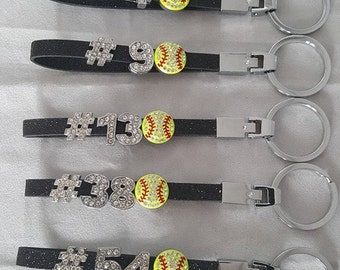 Softball Glitter Keychains