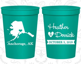 Alaska Wedding Cups, Alaska Wedding, Cheap Party Cups, Destination Wedding, State Cups, Plastic Cups (101)