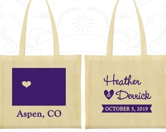 Colorado Wedding, Colorado Tote Bags, Personalized Canvas Bags, Destination Wedding Bags, State Tote Bags, Wedding Bags (105)