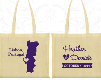 Portugal Tote Bags, Portugal Wedding, Wedding Favor Cotton Tote Bags, Destination Wedding Bags, Personalized Tote, Lisbon Tote Bags (189)