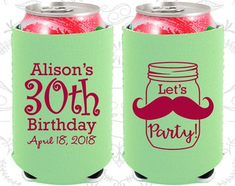 30th Birthday, 30th Neoprene Birthday, Mason Jar Birthday, Rustic Birthday, Mustache Birthday, Neoprene Birthday Can Coolers (20282)