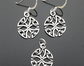 925 Solid Sterling Silver ROPE and Cross Earrings/Pendant/Circle/Dangle/Oxidized Earrings/Celtic Cross and Rope in Circle