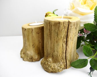 Wood Candle Holders, Rustic Candle Holders, Log Candle Holders, Candle Holders, Teal Light Candle Holders, Branch Candle Holders
