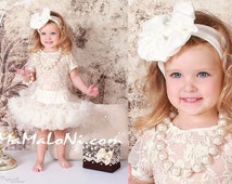 5 pcs Girls Tutu Dress Set: ruffle PREMIUM Ivory pettiskirt tutu, bow headband, lace top, necklace & bracelet; Birthday, Flower Girls, dress