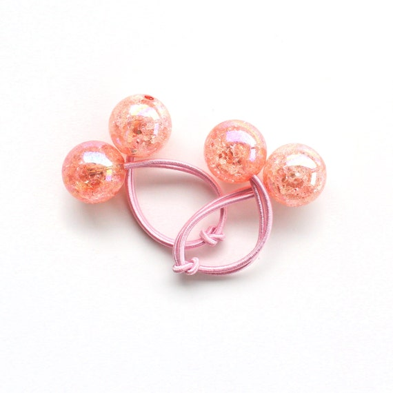 PINK CRACKLED bobbles. Pony Tail Holder. Girls Hair Tie. Elastic Hair Tie. Funky. Retro Hair Bobbles. Pink
