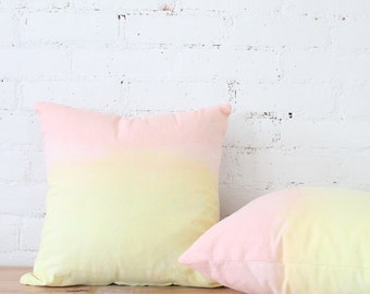DIP DYE PILLOWS - peach and yellow dip dyed pillows