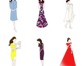 Kate Middleton, Duchess of Cambridge Fashion Sketch - Single