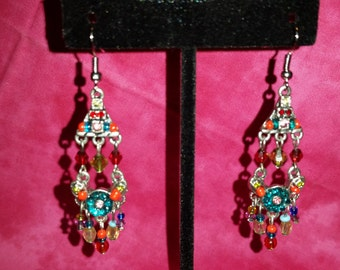 Multi-Color Chandelier Earrings (Bright Colors)