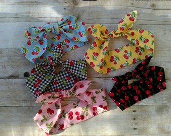 Pink, yellow, blue, black and gingham cherries headband bandana top knot hair bows made by FlyBowZ!