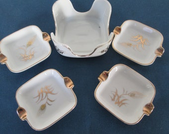 Vintage Lefton China Wheat Gold Gilt Ashtray Set With Holder Marked 0124 Vintage Collectible Home Decor Tobaccaina