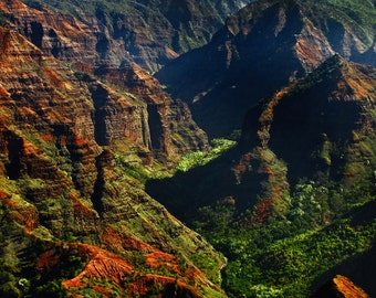 "Hawaiian Art, Kauai, Waimea Canyon, Landscape Photography, Kauai Print, Green, Blue, Hawaii Wall Decor, Kauai Mountains - ""Waimea Canyon"""