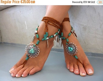 SUMMER SALES DIONA, Barefoot Sandals, Beach Jewelry,  gemstones Hippie Sandals, Foot Jewelry,  festival accessories, yoga toe, anklet