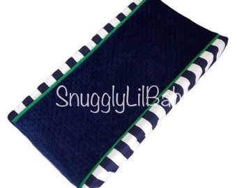 Navy stripe, kelly green trim and navy minky dot changing pad cover