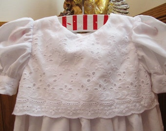 Very Long Eyelet Christening White Gown