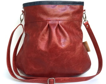 Red leather bag,red leather tote bag,red tote, large leather tote,tote bag red