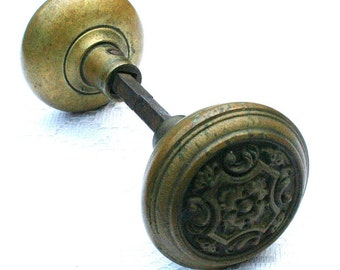 Vintage Brass Doorknob Set, Eastlake Doorknob Set, Art Nouveau Doorknob Set