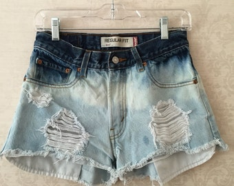 Dip dyed bleached Levi Shorts