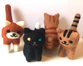 Needle felted cats Neko atsume kittens made to order
