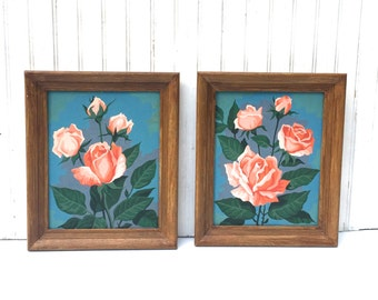 Vintage Pair of Framed Paint By Number Paintings of Pink Roses