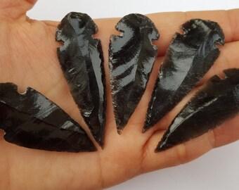 Large Black Obsidian Arrowheads - Arrow Heads - Jewelry Supplies - Black Spear heads - Carved Obsidian