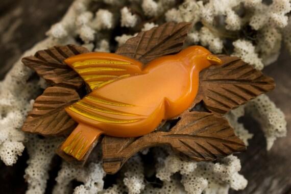 Yellow Bakelite Bird and Wooden Leaf Pin
