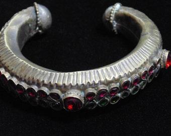 BR3311 -  Vintage Kuchi Tribal Cuff Bracelet - Afghani Ethnic Statement Bracelet Boho